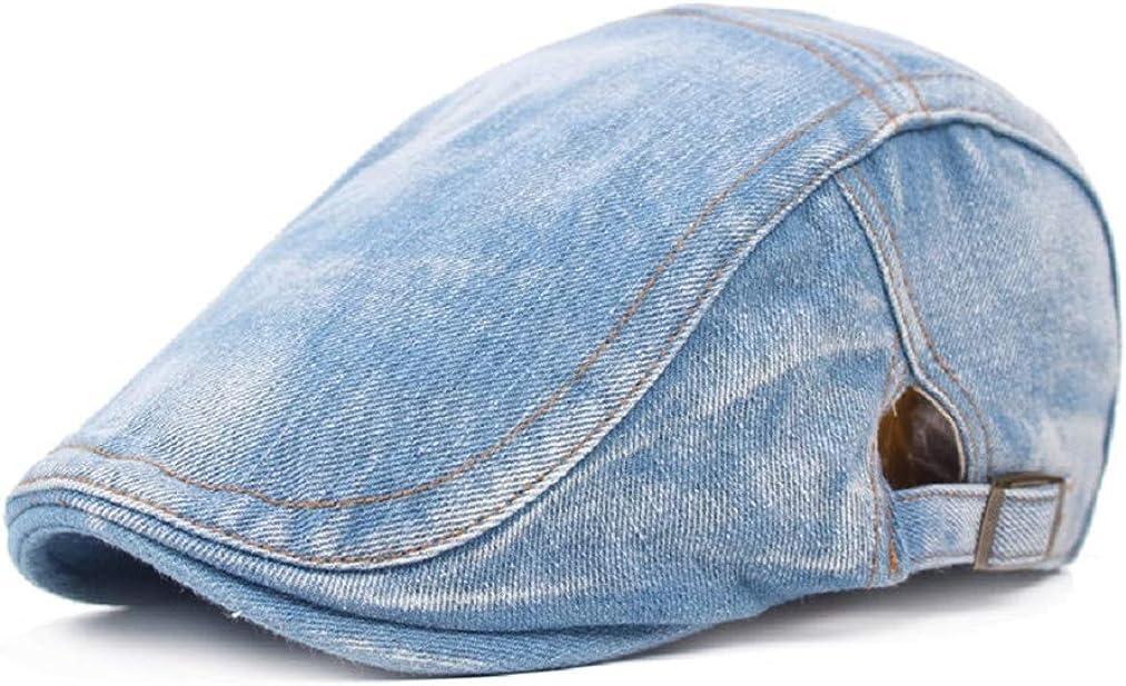 Sevenfly Men Denim Jeans Newsboy overseas Buckle Duckbill Beret Hat Gifts Cabbi