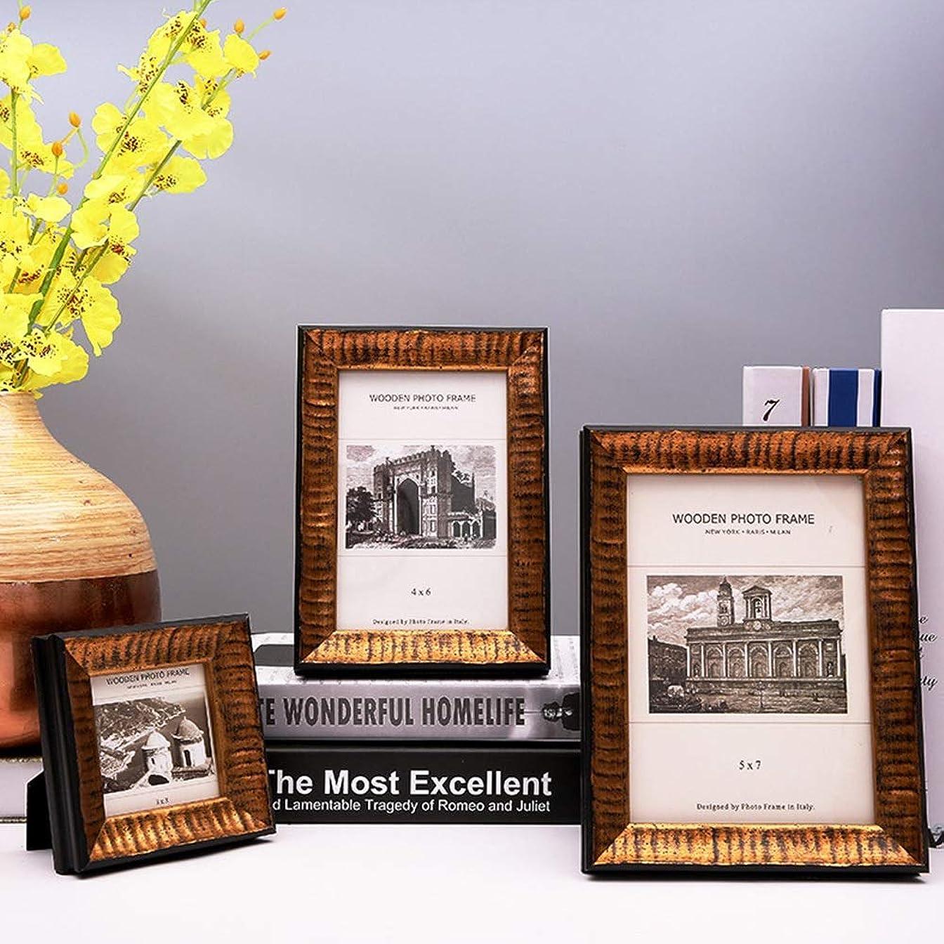刺激する描写ポゴスティックジャンプLKJASDHL テーブルトップディスプレイと壁取り付け用の純木高精細ガラス製のリビングルーム用木製フォトフレームガーデンフォトウォール (色 : ゴールド, サイズ : 3*3inch)