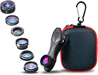 SimpLenz 7 in 1 Clip On Cell Phone Camera Lens Kit | for iPhone 7 6/6S 6S Plus, Samsung Galaxy S7 S6 & Most Tablets | Telephoto, Fish Eye, Kaleidoscope, Wide Angle, X-Wide Angle, CPL, Macro Lens