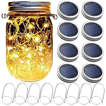 Mason Jar Solar Lantern Lights 8 Pack 30 LED Bulbs Fairy Star Firefly Solar Lids Jar Lights,8 Hangers Included No Jars ,for Patio Garden Mason Jar Lanterns Table Wedding Decorations Lights