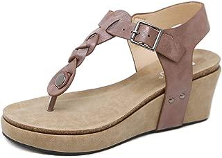 Women Wedge Sandals T-Strap Platform Thongs, Chic Comfy Heel Shoes Beach Wedding