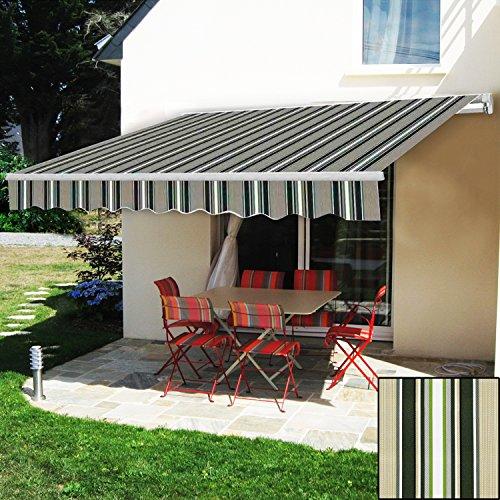 Greenbay Manual Awning Canopy   Multi-Stripe 3x2.5M Retractable Outdoor Patio Garden Sun Shade...
