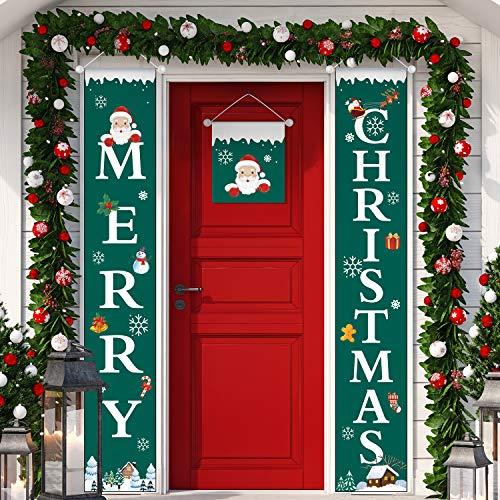 Boao 3 Piezas de Pancarta de Porche de Navidad Cartel de Porche Puerta Principal Decoración de Navidad Colgante para Favores de Fiesta Interior Exterior Pared de Hogar (Color 3)