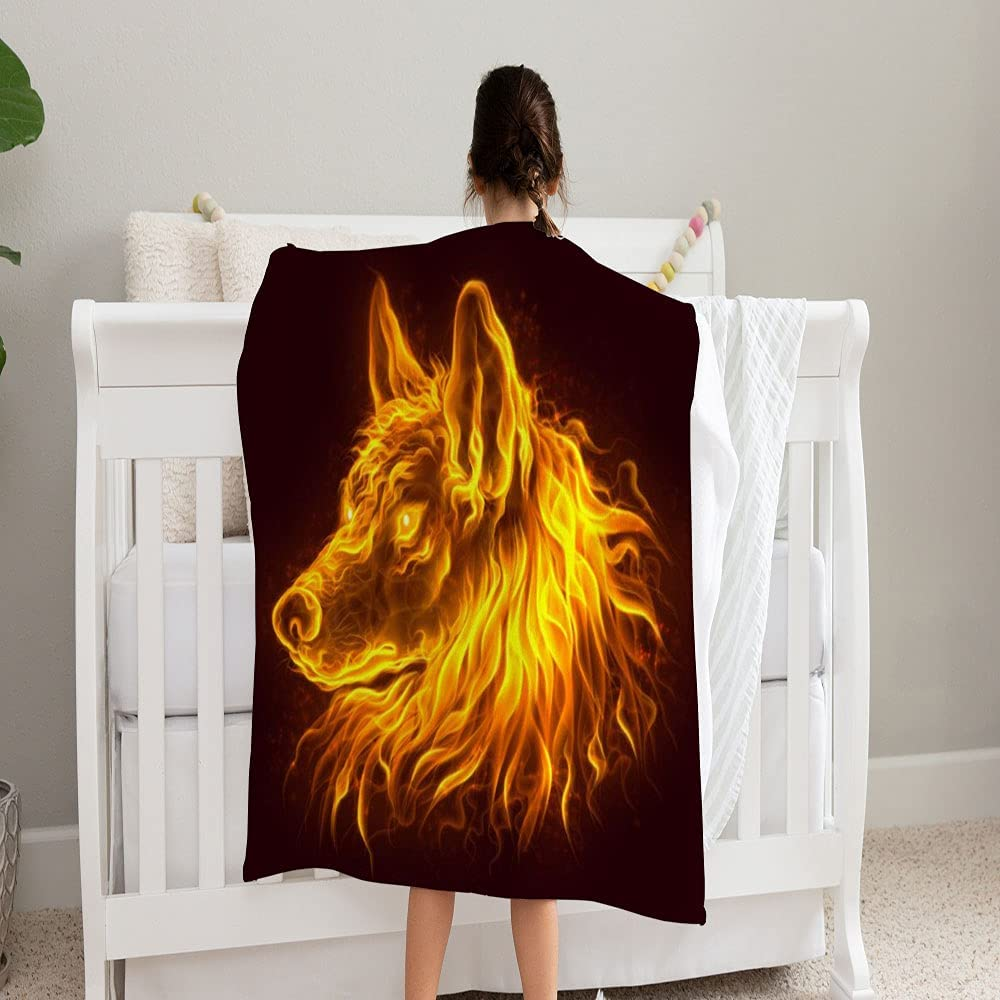 GANTEE Max 78% OFF Fire Wolf 55% OFF Head Blanket Super Soft Blanke and Fleece Cozy
