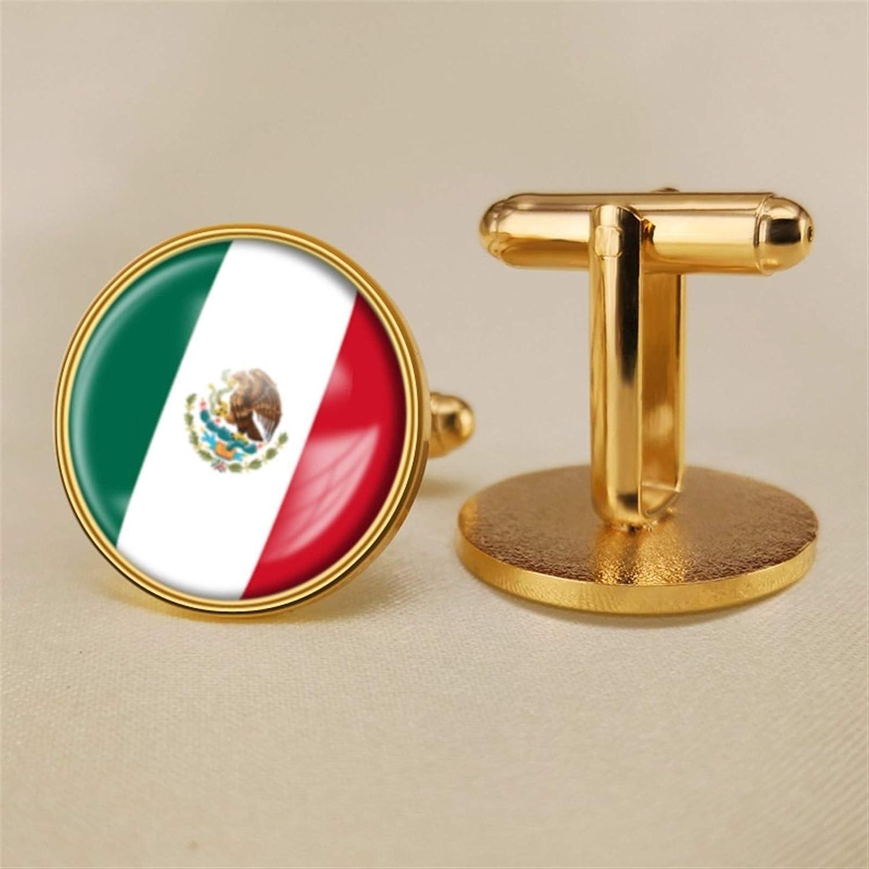 YYOBK Boys' Cuff Links,Men's Cuff Links,Shirt Studs,Sports Fan Cuff Links,Mexican Flag Cufflinks,Round Cufflinks, Copper 19mm (Color : Gold, Size : 19mm)