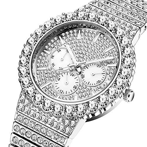 MLHXHX Reloj de hombre, de gama alta con diamantes tachuelas Hip-hop Gypsophila Multifuncional Luminoso Impermeable de los Hombres Reloj de Cuarzo Blanco