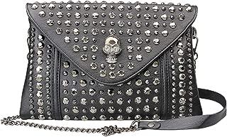PHILIPP PLEIN borsa pochette FLAP BAG ANNIVERSARY 20TH nero, vernice con borchie