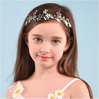 SWEETV Flower Girl Headpiece Sliver Princess Wedding Headband -Baby Girls Flower Pearl Hair Accessories for Birthday Party, Photography