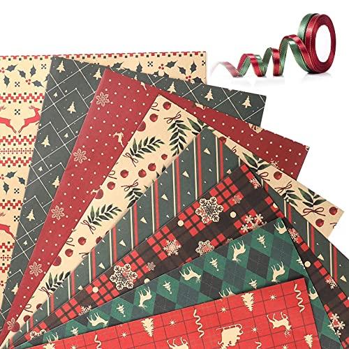 Navidad Papel Kraft Papel de Regalo, Papel de Regalo Reciclable Papel Marrón Doblado Retro Papel de Regalo Kraft Papel Para Envolver De Navidad Set, 8 Diseños, para regalo de fiesta navideña,70x50 cm