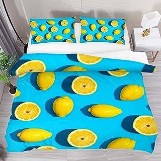 jonycm Juego De Cama Summer Yellow Lemon Pattern Blue 3 Piezas con 2 Fundas De Almohada 1 Duvet Cover Modern Custom Edredón Colcha Juego De Cama Juego De Funda Nórdica 177X218Cm