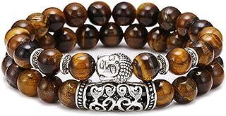 Anxiety Bracelet 2Pcs/Set Natural Stone Bracelet Men Vintage Ethnic Buddha Bracelet Yoga Prayer Jewelry Couple Braslet