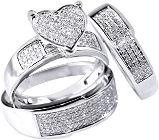 Jewel Zone US White Natural Diamond Heart Trio Wedding Ring Set in 14k Solid Gold (0.75 Ct)
