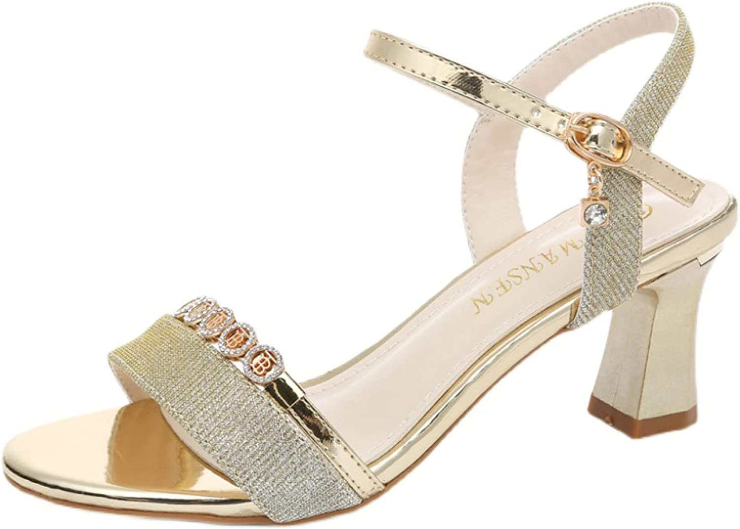 Summer Sparkly Block Heeled High quality Sandals Comfort Buck Toe Open Translated Trendy