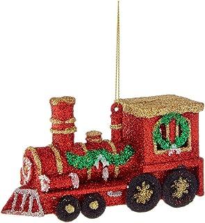 "Kurt Adler 2.75"" Plastic Red Train Ornament W/glitter"