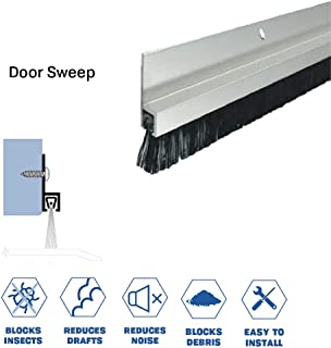 Clear Anodized Aluminum Door Bottom Sweep with 5/8'' Nylon Brush (72918CA), SMS #6 x 1/2'' Supplied, (5/16'' W x 1'' H x 36'' L)