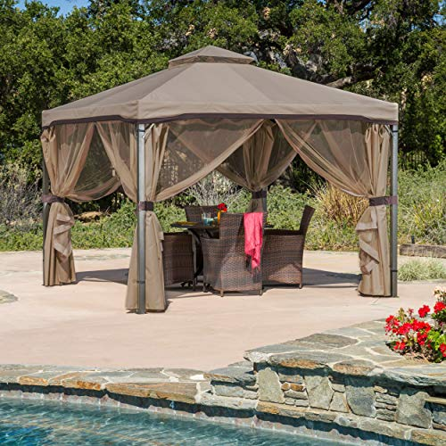 Great Deal Furniture Sonoma   Outdoor Fabric/Steel Gazebo Canopy   in Light Brown