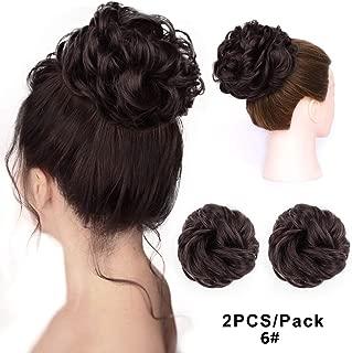 2PCS Messy Bun Hair Piece Hair Buns Hair Piece Scrunchies for Women Messy Bun Synthetic Curly Wavy Scrunchy Updo Face Bun Hair Extensions(Color:6#)