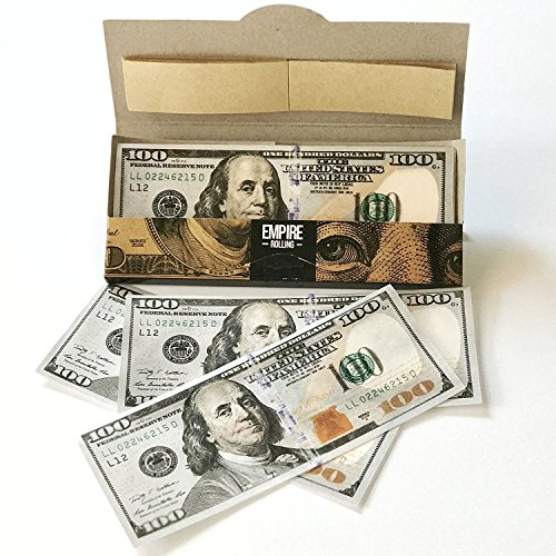 Empire Rolling - 1 Wallet $100 Bill Rolling Paper (10 Papers) King Size Benny 1 3/4 Inches | Made from Pure All Natural Ingredients | Premium Quality Paper, Organic, 100% Vegan, Non-GMO, Unbleached