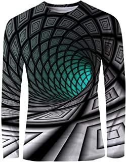 Men's 3D Print Graphic Optical Illusion T-Shirt Print Long Sleeve Daily Tops Basic Elegant Round Neck
