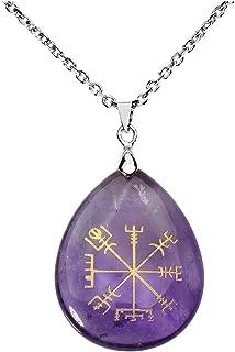 Jovivi Silver Plated Viking Compass Vegvisir Healing Stone Crystal Necklace Teardrop Gemstone Chakra Pendant Necklace 24