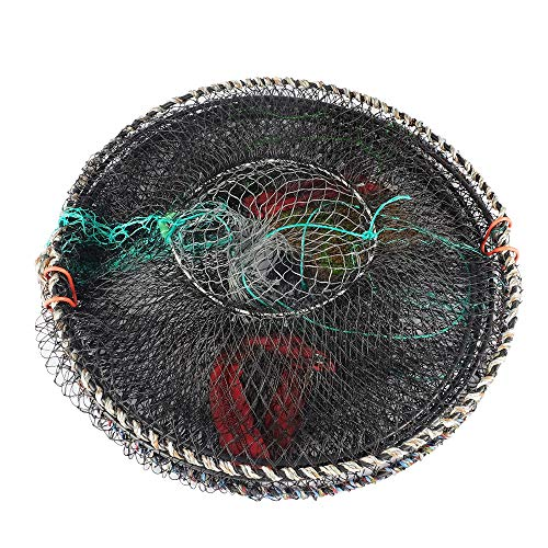 SF 3 Packs Fishing Casting Nets Crab Trap Crawfish Crayfish Lobster Shrimp Collapsible Cast Net Durable Black Mesh Fishing Nets Portable Folded Safe Fish Catching- Small