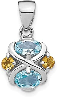 925 Sterling Silver Blue Topaz Yellow Citrine Pendant Charm Necklace Gemstone Fine Jewelry Gifts For Women For Her