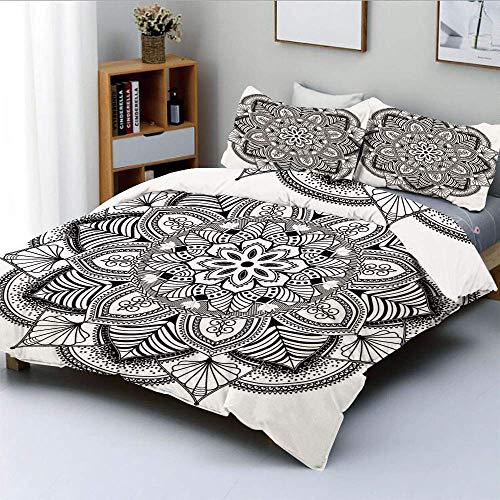 Juego de funda nórdica, patrón floral étnico anillado con azulejos y líneas ornamentados Boho Circle Home Art Juego de ropa de cama decorativo de 3 piezas con 2 fundas de almohada, blanco negro, el me