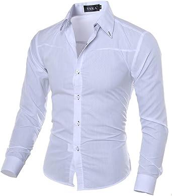 zhxinashu Camisa de Manga Larga de Los Hombres de Moda Estilo ...
