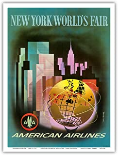 New York Worlds Fair 1964-1965 - American Airlines - Vintage Airline Travel Poster by Henry K. Bencrathy c.1960s - Master Art Print - 9in x 12in