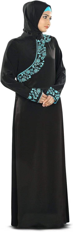 Mybatua Women's Eid Abaya with Pretty bluee Embroidery Islamic Dress in Black
