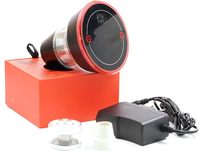Cabezal de cachimba eléctrico, vaporizador universal (pantalla digital, incluye 2 depósitos de líquido con atomizador y cargador), color rojo