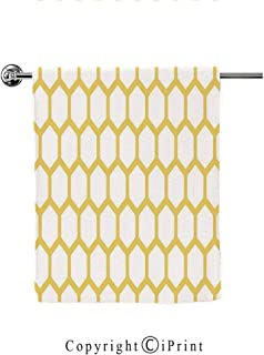 Prints Bath Towel Wrap Womens Spa Shower and Wrap Towels Swimming Bathrobe Cover Up for Ladies Girls,Yellow and White,Hexagonal Pattern Honeycomb Beehive Simplistic Geometrical Monochrome,Mustard Whit