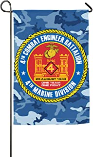 4th Combat Engineer Battalion Yard Flag Patio Garden Flags Outdoor Banner 12x18 Inches