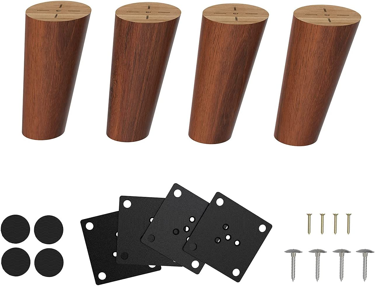 Orgerphy 4 Inch Solid Wood Furniture Legs 4pcs   Round Tapered Oblique Replacement Legs for Furniture  Mid Century Modern Wooden Legs Desk Legs Furniture Legs for DIYers   Screws & Pads ( Wine- Red)