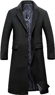 chouyatou Men's Gentle Notched Collar 3 Button Mid-Weight Woolen Long Duster Coat Split