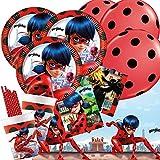 spielum 51-teiliges Party-Set Miraculous Ladybug - Teller Becher Servietten Tischdecke Trinkhalme...