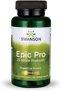 Swanson Epic-Pro 25-Strain Probiotic 30 Billion CFU Digestive Health Immune System Support Prebiotic Nutraflora FOS 30 DRcaps Veggie Capsules (Caps)