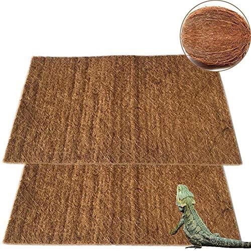 PINVNBY Reptilienteppich, natürliche Kokosfaser, Eidechsenmatte, Haustier-Terrarium-Einlage, Schlange für Chamelon, Schildkröte, Bartagamen, Leguan, 2 Stück