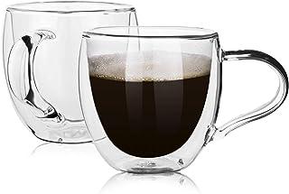 أكواب قهوة زجاجية معزولة مزدوجة الجدار من ليو ، أكواب الكابتشينو ، أكواب لاتيه ، أكواب شاي ، أكواب إسبرسو زجاجية (269.3 م...