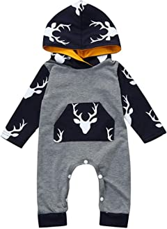 Winsummer Newborn Baby Boy Girl Cotton Fleece Camouflage Hooded Romper Jumpsuit Tracksuit Outfits