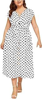 summer dresses for women المرأة عارضة زائد الحجم الخامس الرقبة أكمام البولكا نقطة المطبوعة زر حزام اللباس dresses women (C...
