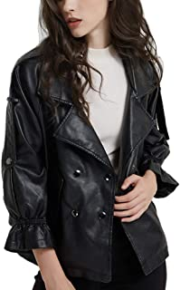 DISSA PP1891 Women Faux Leather Cropped Jacket Loose Coat