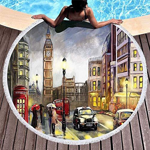 DC Wesley Toalla 3D impresión digital suave ronda paisaje de la ciudad con flecos estera de playa Yoga Mat chal 150 x 150 cm