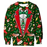 ALISISTER 3D Hässliche Weihnachtspullover Kinder Casual Pullover Sweatshirt Herbst Winter Ugly Xmas Jumper Sweater Für 8-9 Years L