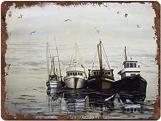 graman Affiche vintage « Waiting Out The Storm » - Décoration murale - Bateau perdu - Paysage marin, bateau de pêche, océa...