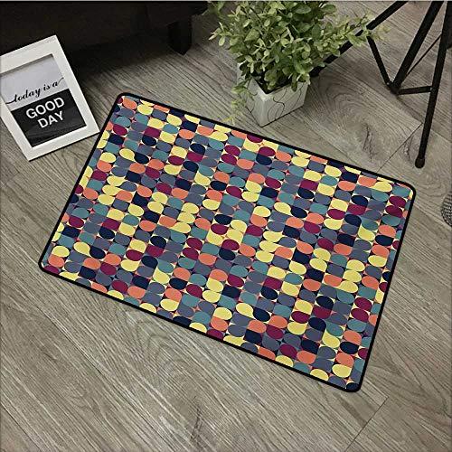 Interior mat W35 x L59 INCH Retro,Pastel Color Circular Shapes in Squares Mosaic Pattern Modern Geometric Illustration,Multicolor Non-Slip, with Non-Slip Backing,Non-Slip Door Mat Carpet