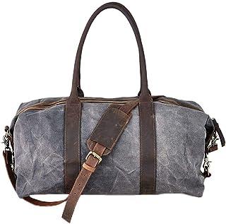 Nkuku Unisex Dara Canvas and Leather Weekender Bag - Distressed Grey/Brown