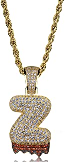 HECHUANG Initial Letter Necklace Simulated Diamond Iced Out Bling Letter Initial Pendant Hip Hop Necklace