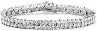 Mariell Silver Platinum Cubic Zirconia Tennis Bracelet for Women - Bridal, Wedding or Everyday Jewelry