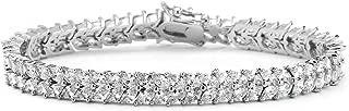 Silver Platinum Cubic Zirconia Tennis Bracelet for Women - Bridal, Wedding or Everyday Jewelry